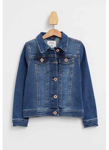 DeFacto Kız Çocuk Regular Fit Jean Ceket Mavi